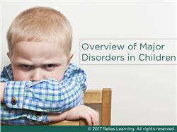 Major Mental Health Disorders of Childhood